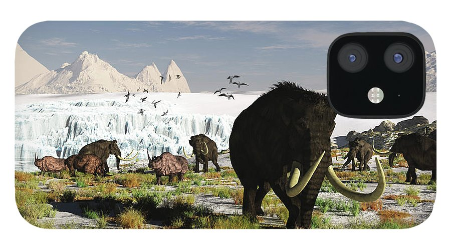 Prehistoric Era IPhone 12 Case featuring the digital art Woolly Mammoths And Woolly Rhinos In A by Arthur Dorety/stocktrek Images
