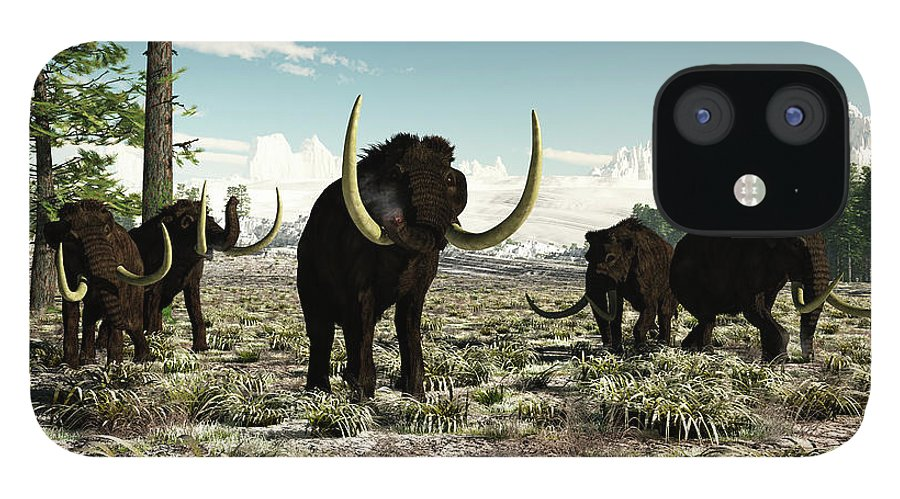Prehistoric Era IPhone 12 Case featuring the digital art Woolly Mammoths In Europe Or Almost by Arthur Dorety/stocktrek Images