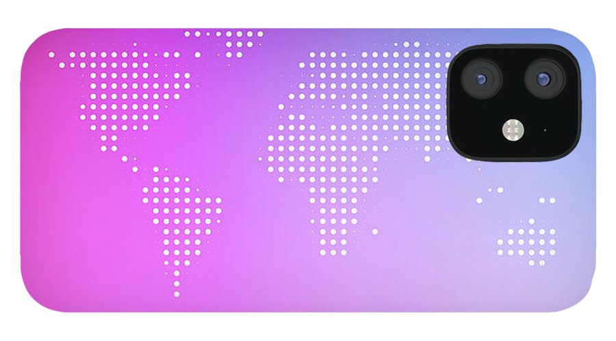Panoramic IPhone 12 Case featuring the digital art World Map In Dots Against An Abstract by Ralf Hiemisch