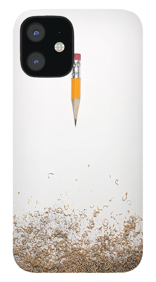 White Background IPhone 12 Case featuring the photograph Worn Down Pencil With Shaving by Chris Parsons