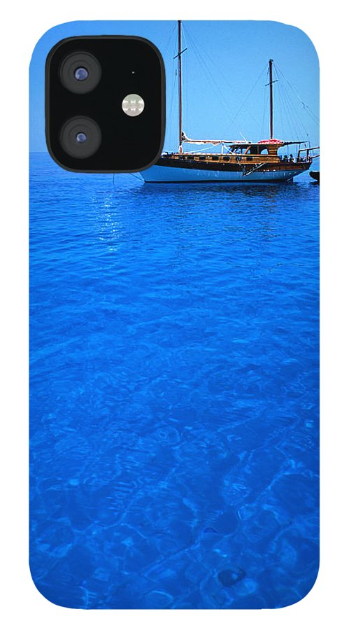 Freight Transportation IPhone 12 Case featuring the photograph Yacht Anchored In The Spectacular by Dallas Stribley