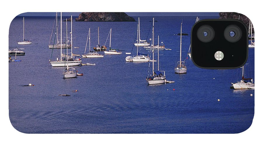 Sailboat IPhone 12 Case featuring the photograph Yachts Moored On The Caribbean Sea Near by Richard I'anson