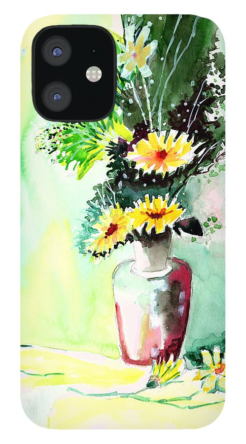 Flower IPhone 12 Case featuring the painting Yellow Flowers 1 by Anil Nene