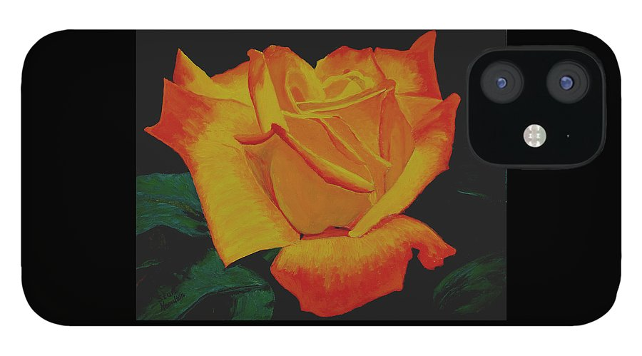 Yellow Rose iPhone 12 Case featuring the painting Yellow Rose by Stan Hamilton