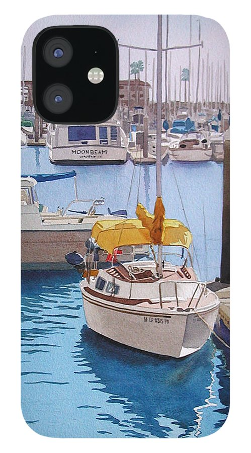 Oceanside IPhone 12 Case featuring the painting Yellow Sailboat Oceanside by Mary Helmreich