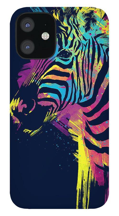 Zebra iPhone 12 Case featuring the digital art Zebra Splatters by Olga Shvartsur