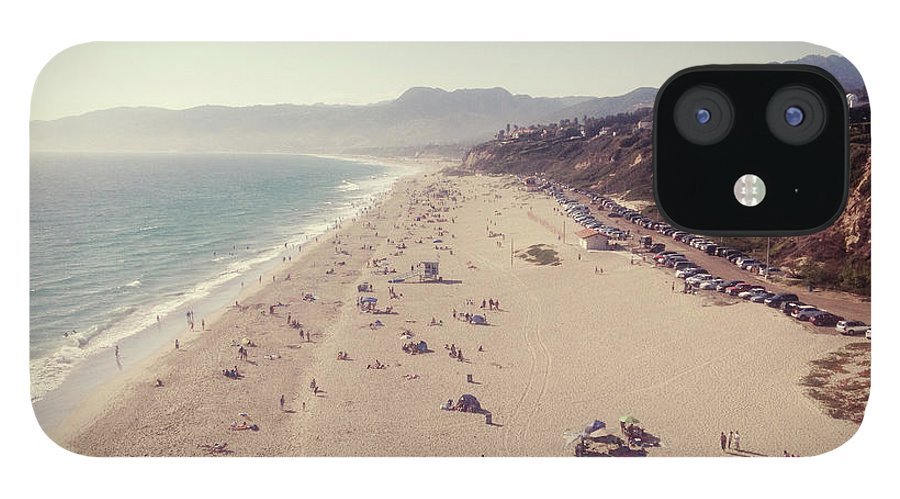 Water's Edge IPhone 12 Case featuring the photograph Zuma Beach At Sunset Malibu, Ca by William Andrew