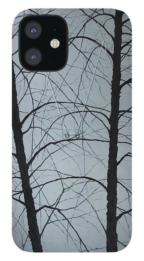 Winter Trees IPhone 12 Case featuring the painting Aging by Roger Calle