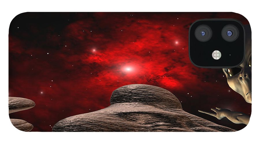 Space IPhone 12 Case featuring the digital art Alien Planet by Robert aka Bobby Ray Howle