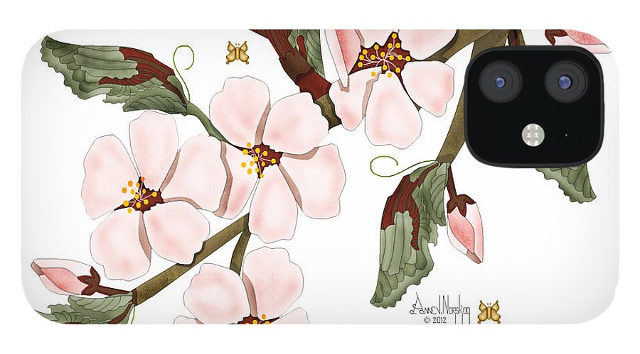 Anne Norskog iPhone 12 Case featuring the painting Almond Branch With Flowers and Leaves by Anne Norskog