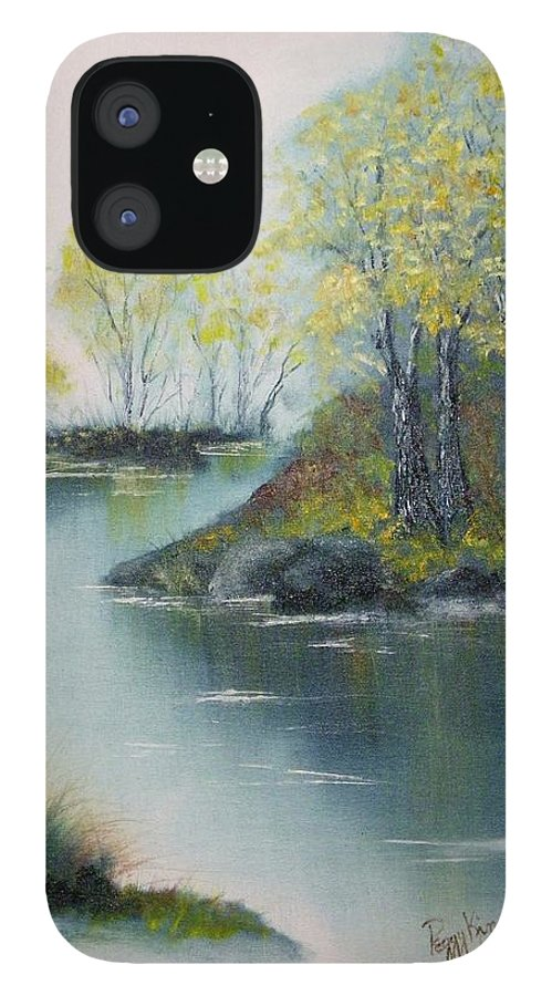 Landscape IPhone 12 Case featuring the painting Autumn Afternoon by Peggy King