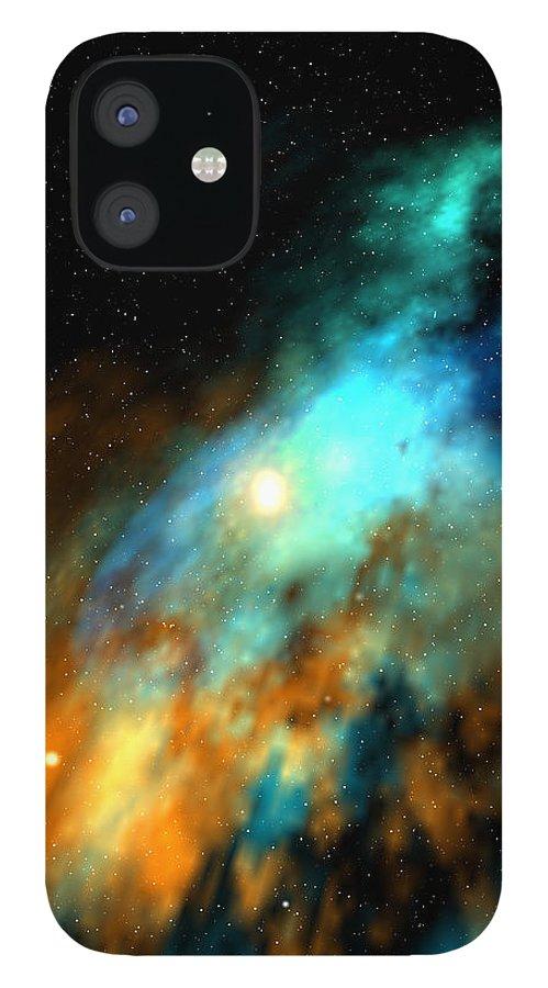Nebula Space Art iPhone 12 Case featuring the digital art Beducas nebula by Robert aka Bobby Ray Howle