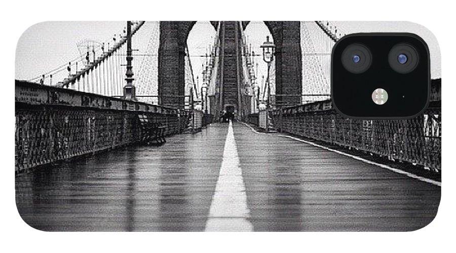 Summer IPhone 12 Case featuring the photograph Brooklyn Bridge by Randy Lemoine