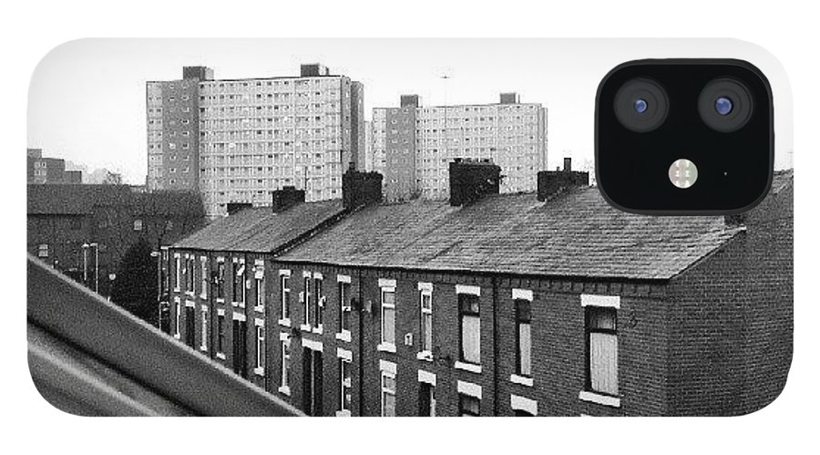 Salford IPhone 12 Case featuring the photograph #buildings #view #window #salford by Abdelrahman Alawwad