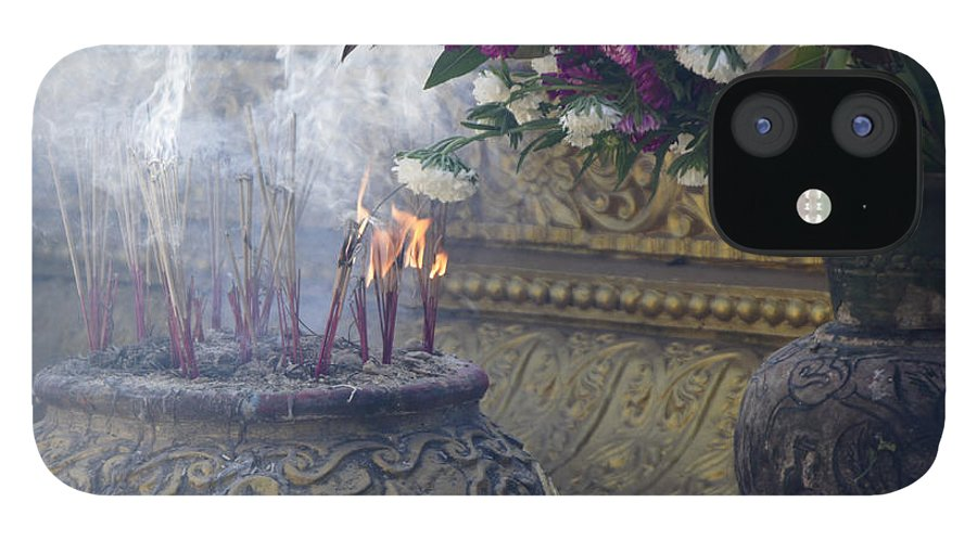 Buddha IPhone 12 Case featuring the photograph Burning Incense by Michele Burgess