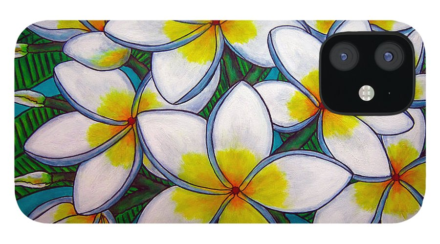 Frangipani IPhone 12 Case featuring the painting Caribbean Gems by Lisa Lorenz
