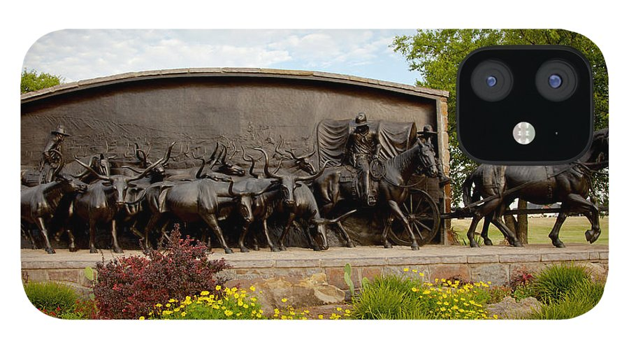 Landscape IPhone 12 Case featuring the photograph Chisholm Trail Monument by Toni Hopper