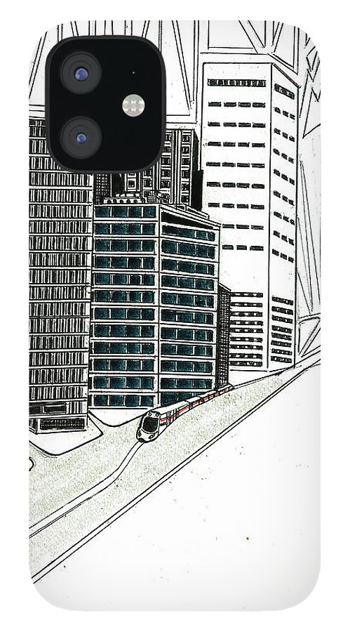 IPhone 12 Case featuring the drawing Cityscape by Harry Richards