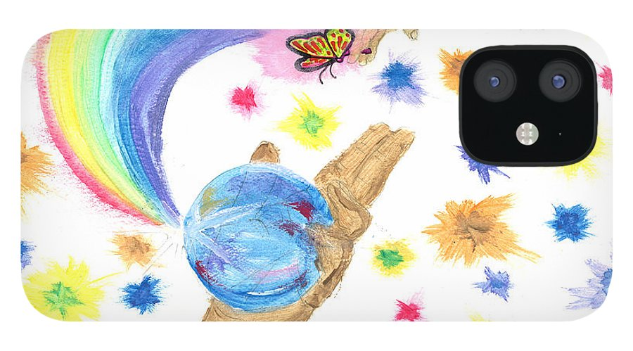 IPhone 12 Case featuring the drawing Colorful Journey by Harry Richards