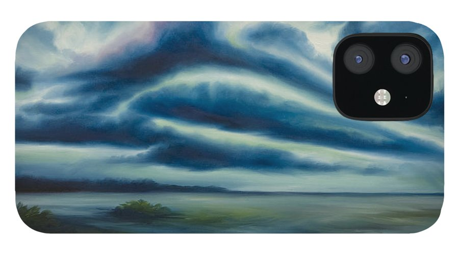 Sunrise; Sunset; Power; Glory; Cloudscape; Skyscape; Purple; Red; Blue; Stunning; Landscape; James C. Hill; James Christopher Hill; Jameshillgallery.com; Ocean; Lakes; Storm; Tornado; Lightning IPhone 12 Case featuring the painting East Storm Rising by James Christopher Hill