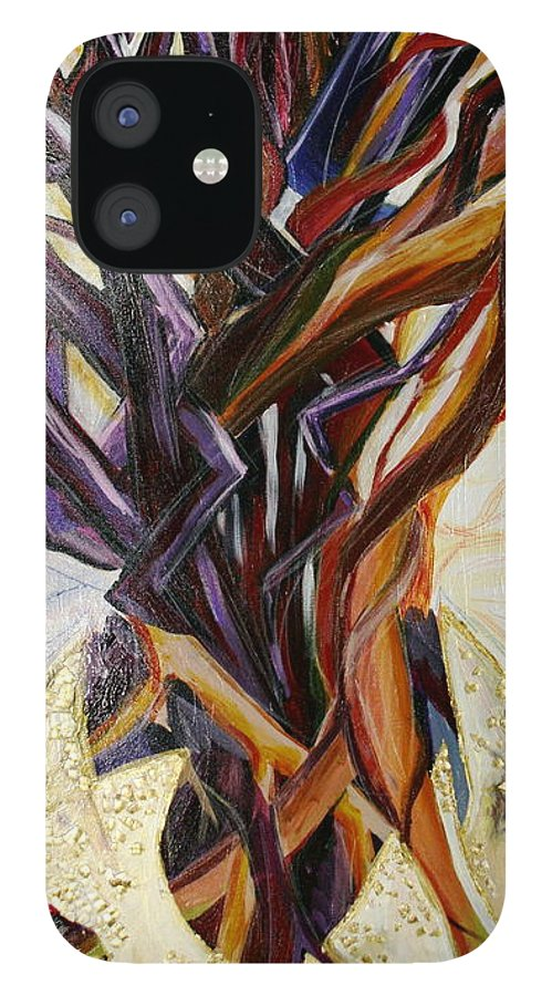 Apple IPhone 12 Case featuring the painting Fifth World Three by Kate Fortin
