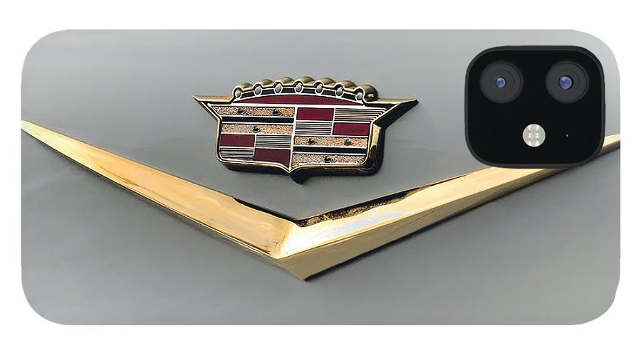 Cadillac IPhone 12 Case featuring the digital art Gold Badge Cadillac by Douglas Pittman
