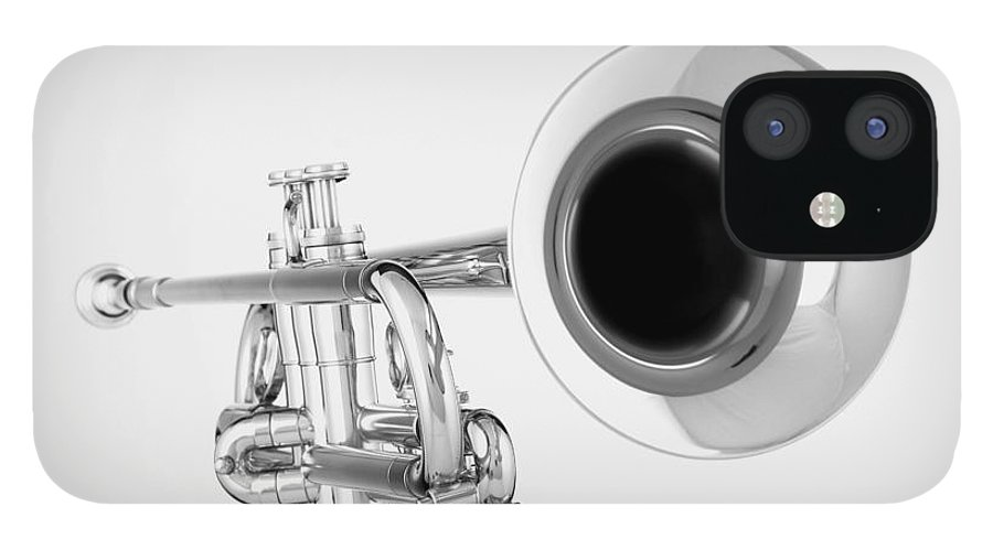 Trumpet iPhone 12 Case featuring the photograph Gold Trumpet Isolated On White by M K Miller