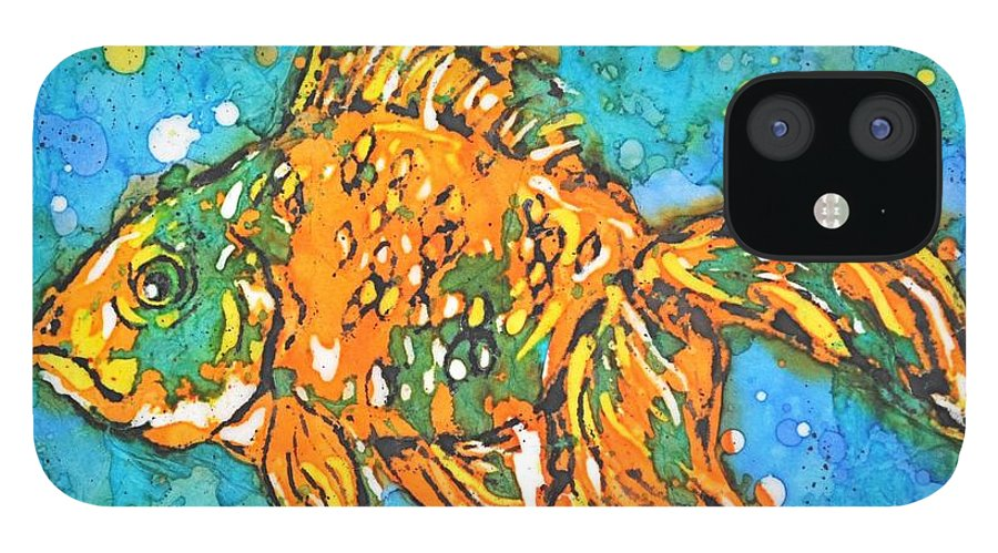 Painting IPhone 12 Case featuring the painting Goldfish by Norma Gafford