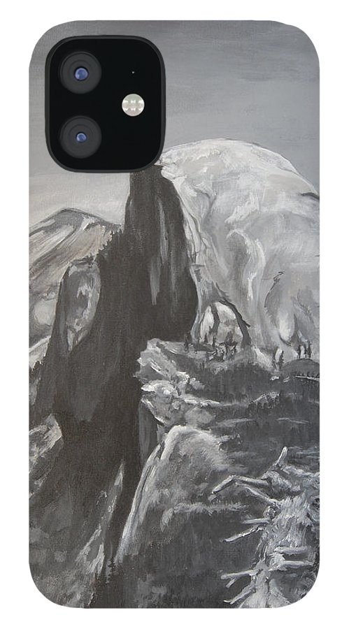 Black And White Painting iPhone 12 Case featuring the painting Half Dome Tree by Travis Day