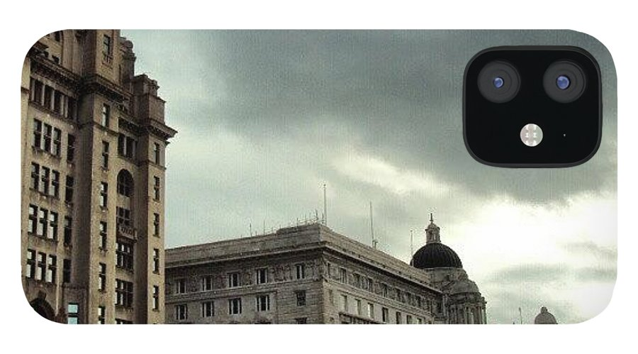 Buildings IPhone 12 Case featuring the photograph #liverpool #sky #clouds #buildings by Abdelrahman Alawwad