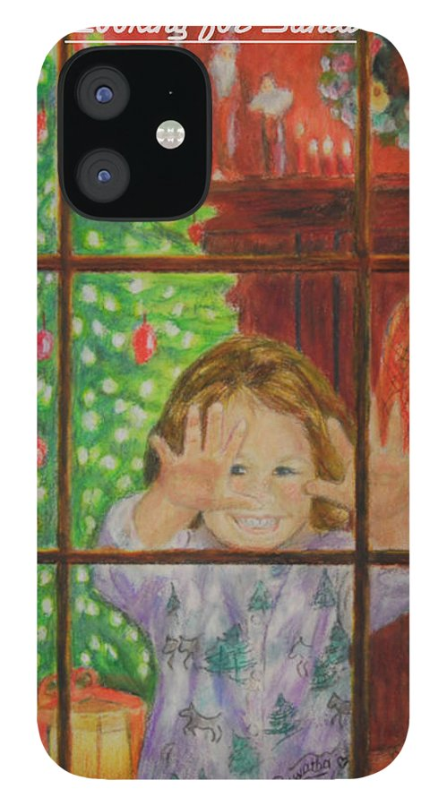 Christmas Card IPhone 12 Case featuring the drawing Looking for Santa by Quwatha Valentine