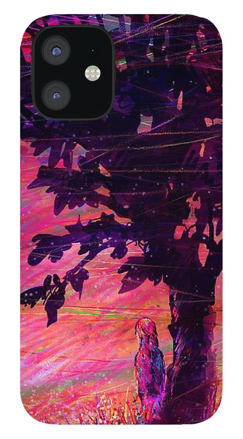 Landscape IPhone 12 Case featuring the drawing Looking the landscapes by William Russell Nowicki