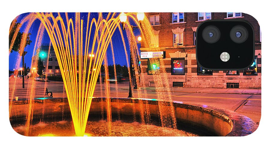 Menasha IPhone 12 Case featuring the photograph Menasha Lighted Fountain by Ever-Curious Photography