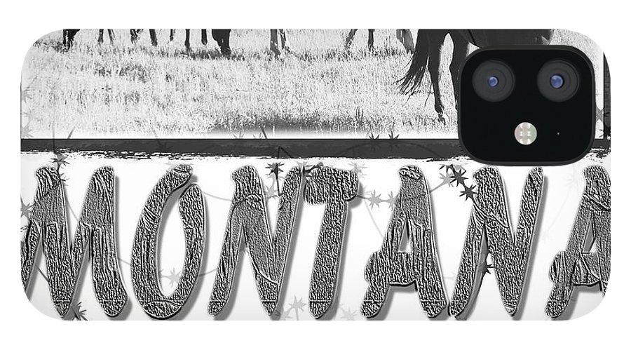 Montana Art IPhone 12 Case featuring the digital art Montana Horse Design by Susan Kinney