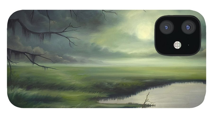 Nature IPhone 12 Case featuring the painting Moon Over Wadmalaw Island by James Christopher Hill