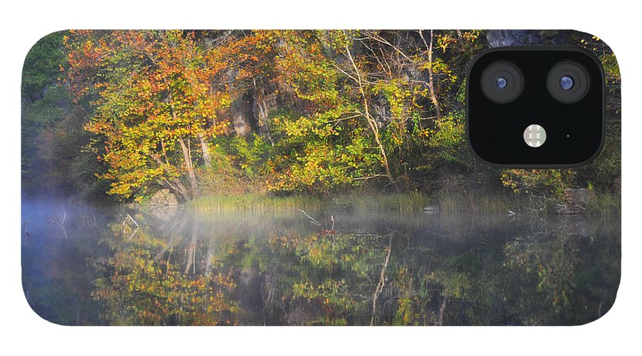 Fall Colors IPhone 12 Case featuring the photograph Mysty Morn on the Current by Marty Koch