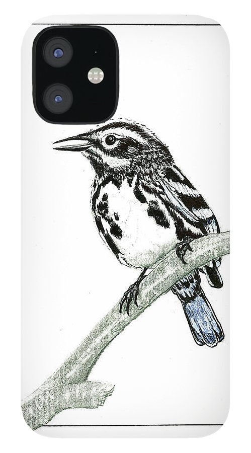 IPhone 12 Case featuring the drawing Perched by Harry Richards