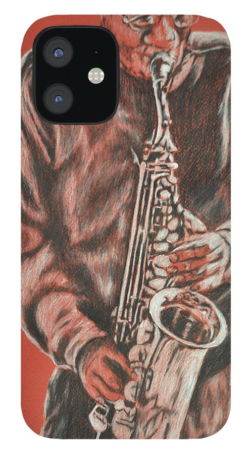 Music IPhone 12 Case featuring the painting Red Hot Sax by Norma Gafford
