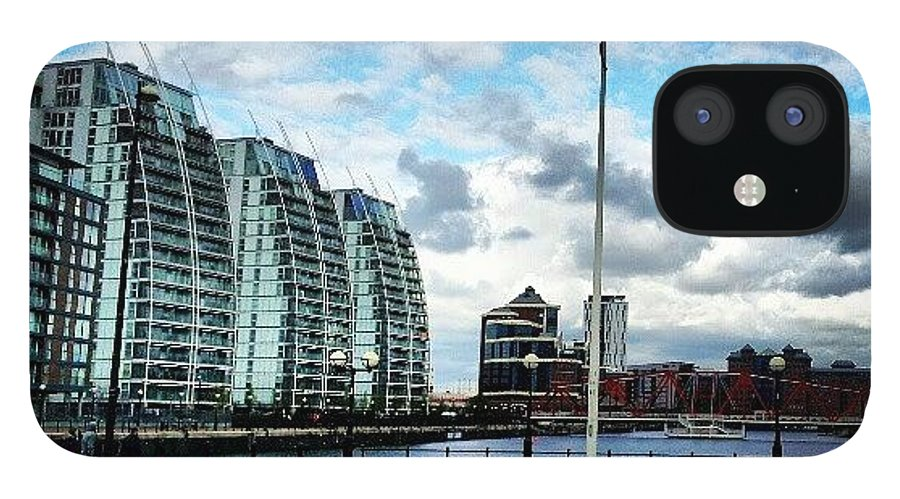 Salford IPhone 12 Case featuring the photograph #salfordquyes #salford #buildings #sky by Abdelrahman Alawwad
