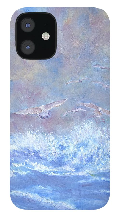Seascape iPhone 12 Case featuring the painting Seagulls at Play by Ben Kiger