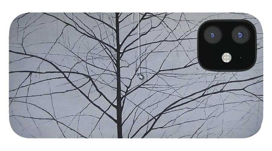 Winter Trees IPhone 12 Case featuring the painting Sorrow by Roger Calle