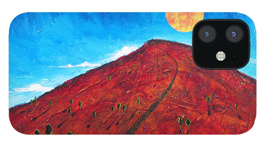 Landscape IPhone 12 Case featuring the painting Sun Over Red Hill by Rollin Kocsis