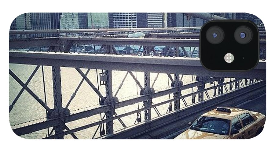 Summer IPhone 12 Case featuring the photograph Taxi On Bridge by Randy Lemoine