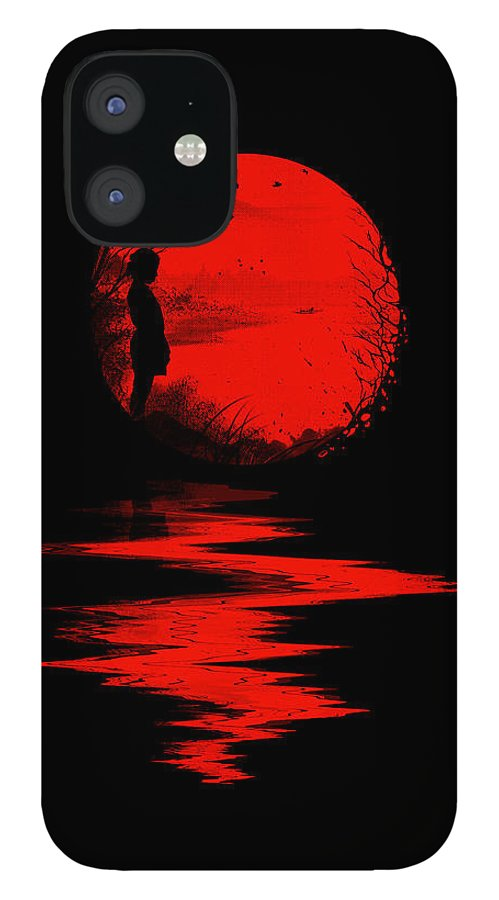 Art IPhone 12 Case featuring the digital art The Land of the Rising Sun by Nicebleed