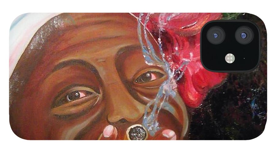 Cuban Art IPhone 12 Case featuring the painting Tobacco Lady by Jose Manuel Abraham