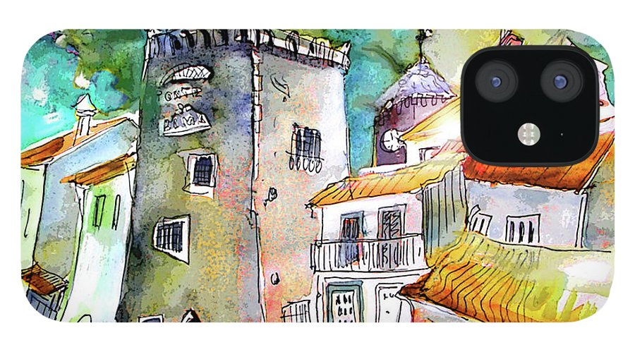 Portugal iPhone 12 Case featuring the painting Tower in Ponte de Lima in Portugal by Miki De Goodaboom