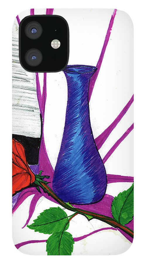 IPhone 12 Case featuring the drawing Vase by Harry Richards