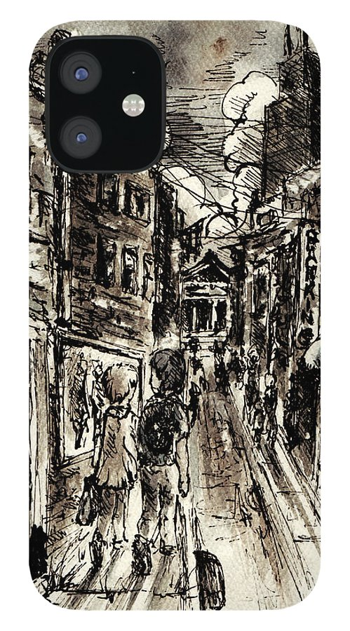 City IPhone 12 Case featuring the painting Walkin In The City by William Russell Nowicki