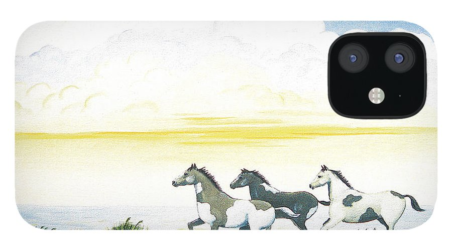 Chincoteague IPhone 12 Case featuring the painting Indian Ponies by Jerome Stumphauzer