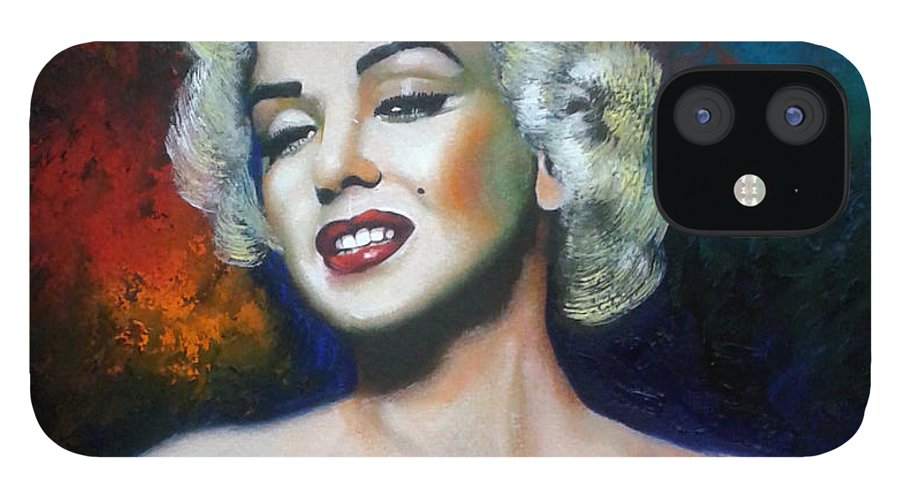 Women Star IPhone 12 Case featuring the painting M. Monroe by Jose Manuel Abraham
